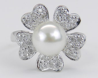 Pearl and Diamond Stunning Brilliant Flower Cocktail Statement Ring 14K White Gold Size 5.25