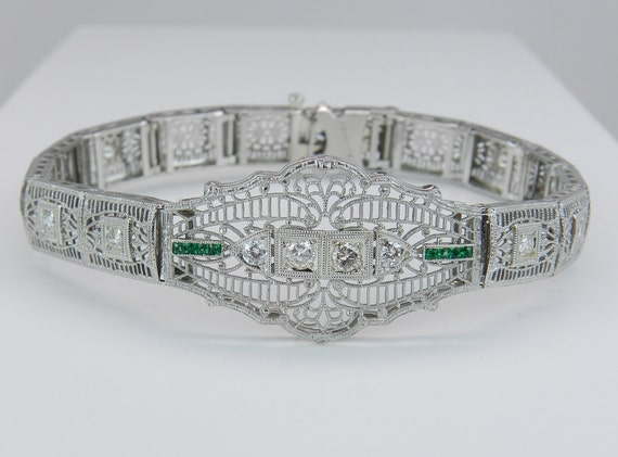 Antique Diamond and Emerald Bracelet Art Deco Platinum Bracelet White Gold 1920's