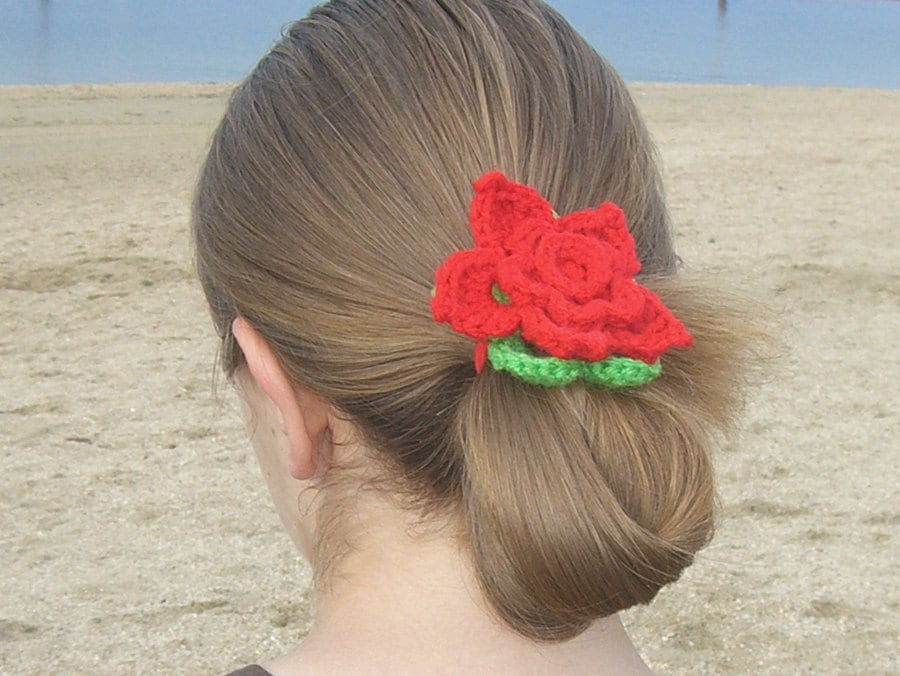 Crochet Hair Ponytail : Red crochet ponytail crochet hair tie red by MayflowerMarket