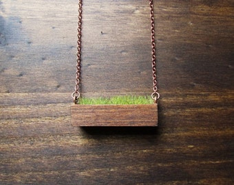 Wooden Necklace / Real Moss Necklace / Grass Necklace / Green Plant Jewelry / Planter Necklace / Moss Necklace / christmas gift 2016 / plant
