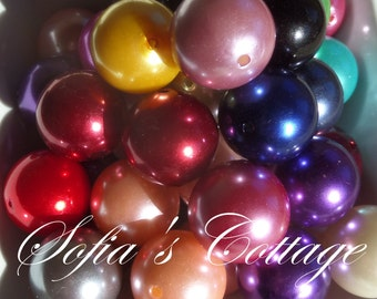 25mm 5CT. acrylic pearl chunky beads, focal beads, mixed colors, acrylic pearl C4