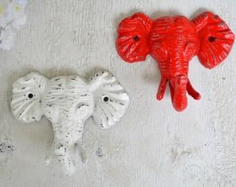 2 Elephant Hook, Cast iron Hook, Coat Hook, Robe Hook, Kids room