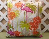 Pink Flamingos and Palms Outdoor Pillow Cover in Pink, Orange, Olive, and Citron
