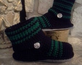 "Custom Order for Dianne ""Solid Black"" Crochet Sweater Boots size 8"