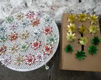 36 clean great shape vintage mid cdentury 1960s foil and mercury glass CHRISTMAS TREE ORNAMENTS