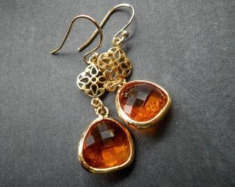 Gold earrings, gold dangle earrings, orange, summer, wedding jewelry, gift for her