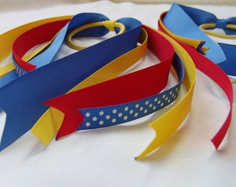 Back To School Hair Streamer, Hair Tie, Pony O - Red, Yellow, Blue