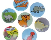 Dinosaur Time - Pick your 4 Pinback Buttons - Stegosaurus Pin - Saber Tooth Tiger Badge - T-Rex, Triceratops, Pteranodon, Brontosaurus