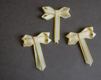 3pc - Yellow Stripe Double Bow
