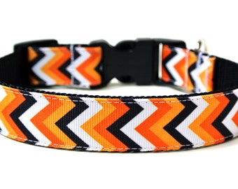 "Halloween Dog Collar 1"" Chevron Dog Collar"