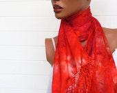Hand Dyed Silk Scarf in Orange Shades
