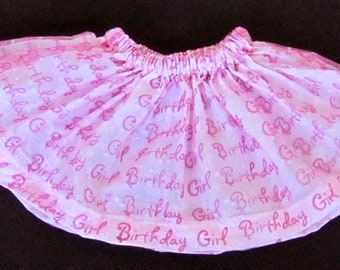 "Toddler girl's beautiful Organza fabric fully lined celebrate ""Happy Birthday"" and ""Balloons"" Skirt pink, blue, green, yellow, white"