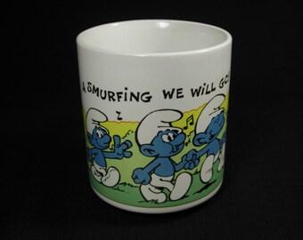 A Smurfing We Will Go Vintage Smurf Mug