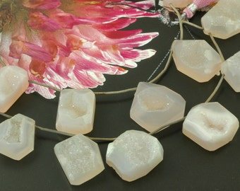 Rose Quartz Chalcedony Druzy : Natural Pink Drusy Pendants, 17x26mm, 7 Pendants, Light Pink Hue Shimmering Jewelry Making Supply, DR308