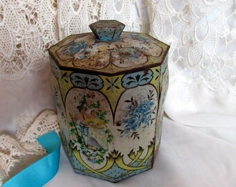 Confections Tin Regal Crown Murray Allen & Dutch Candies / Toleware Flowers Biscuit Tin