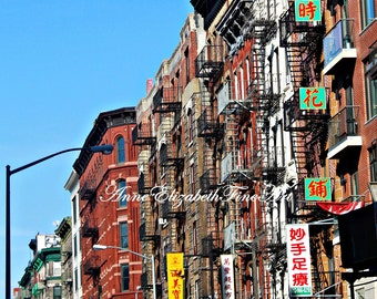 New York City Photograph,Urban,China Town,Color,Fire Escape,Industrial,Dorm Print,Kitchen Art,Balcony,Streets,Signs,Soho,Vintage,Retro,Teal