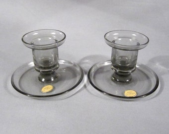 Hand Blown Swedish Art Glass, Candle Holders, Pair of Candle Sticks, Stickered