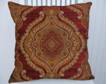 Red Chenille Suzani Pillow Cover- Decorative Throw Pillow, 18x18 20x20 22x22 Gold Green  Decorative Pillow Cover, Accent Pillow Cover