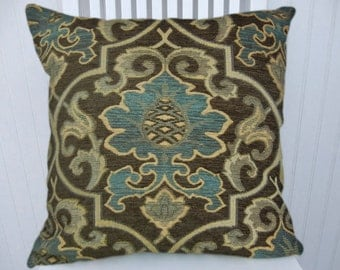 Brown Chenille Pillow Cover with Blue and Sand,  Suzani 18x18 or 20x20 or 22x22- Accent Pillow Cover,Throw Pillow Cover