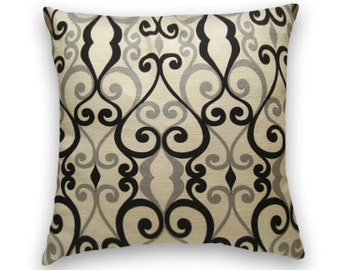 Black Grey Geometric Pillow Cover  Decorative Pillow Cover 18x18 or 20x20 or 22x22 Throw Pillow--Accent Pillow