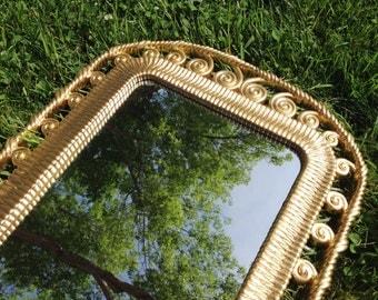 Gold Rope MIRROR Hollywood Regency Gold Metallic Filigree Syroco Mirror