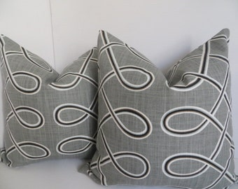 Pair Pillow covers, Set Of two Pillow Cover, Gray Pillow, Black Pillow, White pillow,Pillow Cover,White Gray Pillow covers, Pillow Covers
