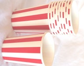 PaRTy CuPs Red and White vertical stripe-with free DIY printable label option--Birthday parties---10ct