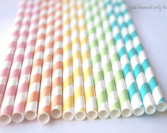 RaiNBoW Pack-PaSTeL CoLoRs-  Stripes--Paper Straws--25ct with Free Printable diy Flags