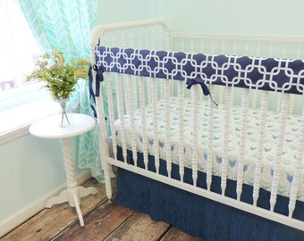 Boutique Cribset or Toddler Set in Aqua and Navy with Arrow Print and Fringe Skirt