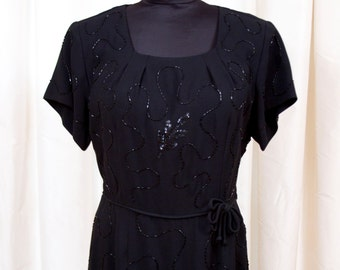 1950s Dress // Black Beaded and Sequin Rayon Dress by Sensibly Young