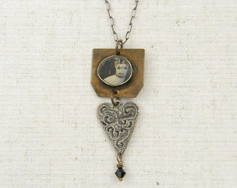 Dog Necklace - Handmade Pet Photo Heart Mixed Media Metal Pendant Necklace Jewelry |NK-NBY1-1