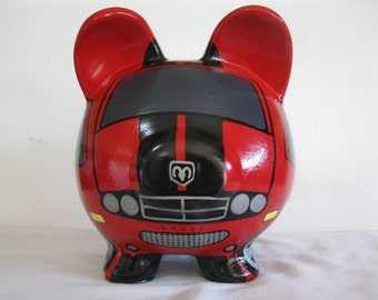 Personalized Piggy Bank, Large, Handpainted, Any Color,  Car, Piggy Bank- Kids, -  MADE TO ORDER