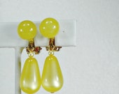 Moonglow vintage earrings yellow dangles teardrop clip on