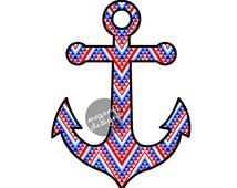 Anchor Car Decal Sticker: Patriotic American Tribal Pattern Cute Nautical Beach Bumper Sticker Laptop Decal Red White Blue