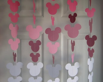 Mouse Style Party Decorations, 1st Birthday Party, Girl Birthday party Decoration, Paper Garland