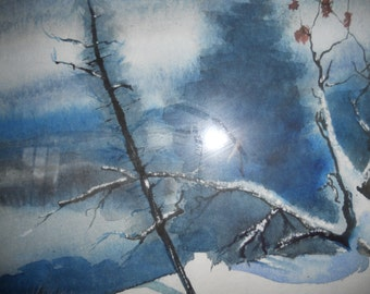 Beautiful mesmerizing watercolor of a winter scene