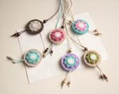 Round felt pendant necklace with flower, felt medallion necklace