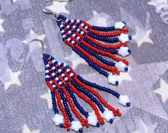 White Star Earrings, Red, White & Blue Earrings, Patriotic Earrings, Holiday Earrings, Fourth of July Earrings, July 4th Earrings, Dangle
