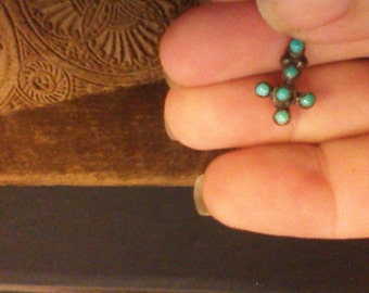 Vintage Sterling Silver Turquoise Cross Stickpin Native American
