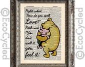 Winnie the Pooh & Piglet Quote 5 how do you spell love on Vintage Upcycled Dictionary Art Print Book Art Print book lover gift classic pooh