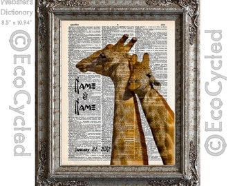 Giraffes in Love with Names and Date Vintage Upcycled Dictionary Art Print Book Art Print Anniversary Wedding Love Customized book lover art