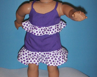 Cute  3 Piece Purple Short Skirt, Shorts, and Top  with Polka Dot  Ruffle. Fits American Girl and Similar 18 in. dolls