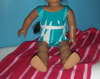 Aqua and White cute bathing suit  with Beach Towel.   Fits American Girl, and other 18 in. Dolls