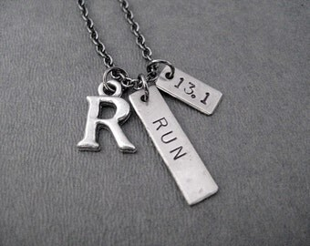 RUN 13.1 INITIAL Necklace - Choose your Initial - Personalized Running Necklace on 18 inch gunmetal chain - Running Jewelry - 13.1 Necklace