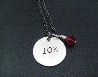 10K with RACE MONTH Crystal Necklace - 10k Running Charm with Sterling Silver Wrapped Swarovski Crystal on Gunmetal chain - First 10k Run
