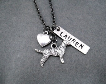 PUPPY LOVE with NAME Pendant - Custom Pet Jewelry - Heart or Angel Wing - Dog Necklace Gunmetal chain - Pet Jewelry - Pet In Heaven - Memory