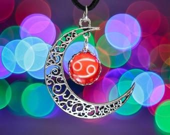 Cancer Zodiac Moon Necklace