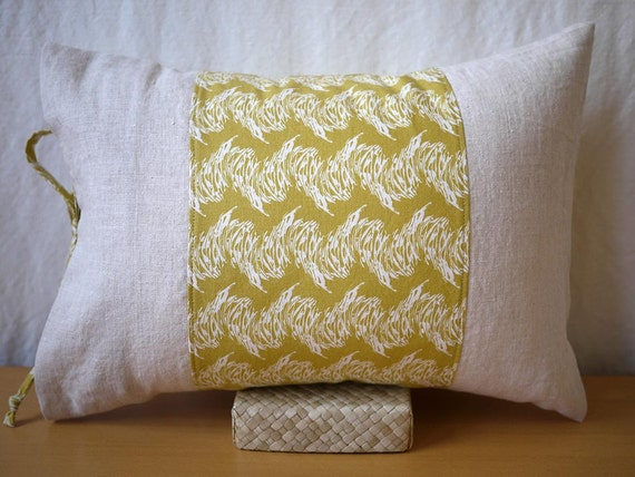 "12""x16"" Modern Pillow - Stone River Print with Linen Borders - Citrine/Ivory - Housewarming Gift, Holiday Gift"