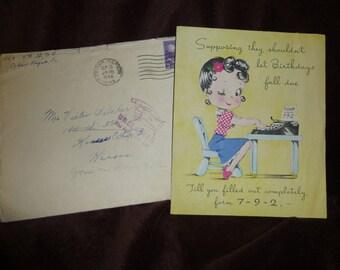 Birthday Card Vintage 1940s World War II Era Typewriter Handwritten Note
