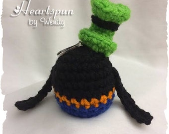 Disney Goofy EOS Lip Balm Holder with clip to attach to a key chain or bag.  Hand crocheted, fits eos or similar lip balm.